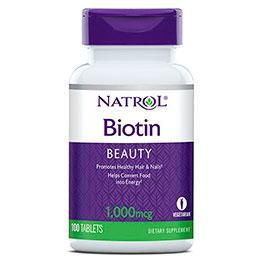 Biotin 1000 mcg, 100 Tablets, Natrol