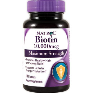 Biotin 10,000 mcg Maximum Strength, 100 Tablets, Natrol