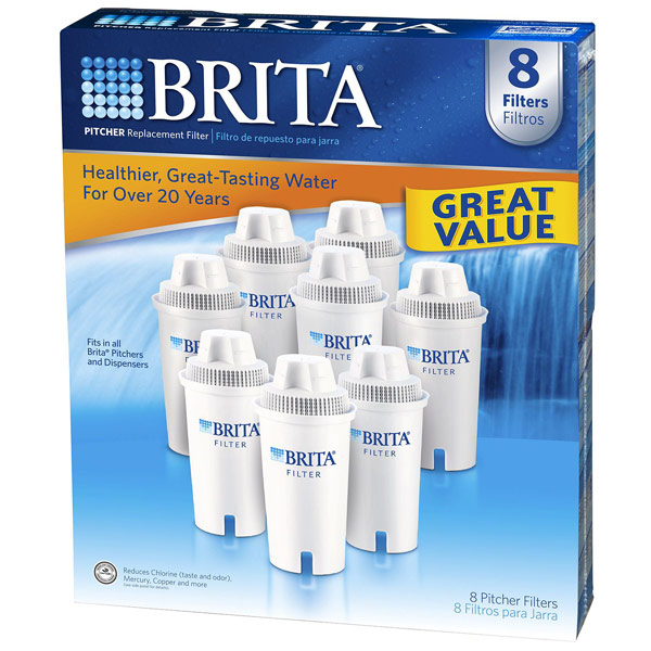 Brita Vintage Pitcher Water Filtration System with 2 Filters: Brita Pitcher Replacement Filter, Fits in All Brita Pitchers & Dispensers, 8 Filters