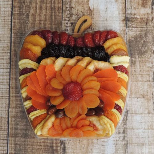 Dried Fruit Apple-Shape Trivet Bowl Gift Set, 44 oz, Vacaville Fruit Company