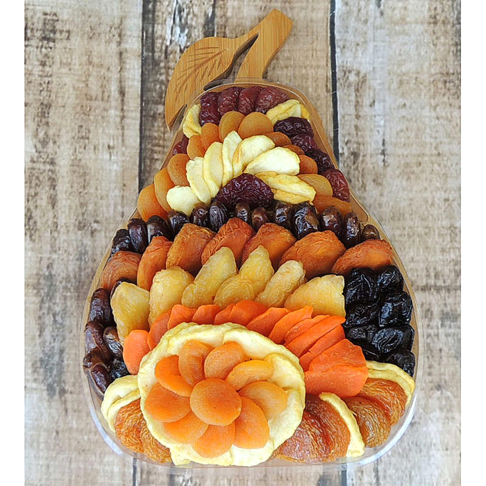 Dried Fruit Pear-Shape Trivet Gift Bowl, 40 oz, Vacaville Fruit Company