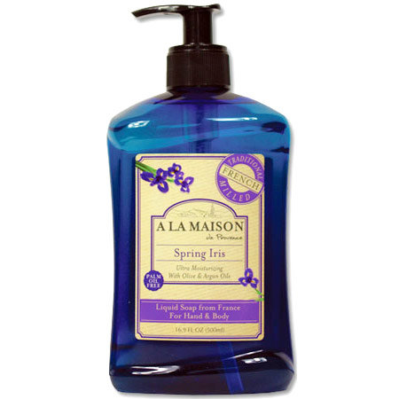 French Liquid Soap for Hand & Body, Spring Iris, 16.9 oz, A La Maison
