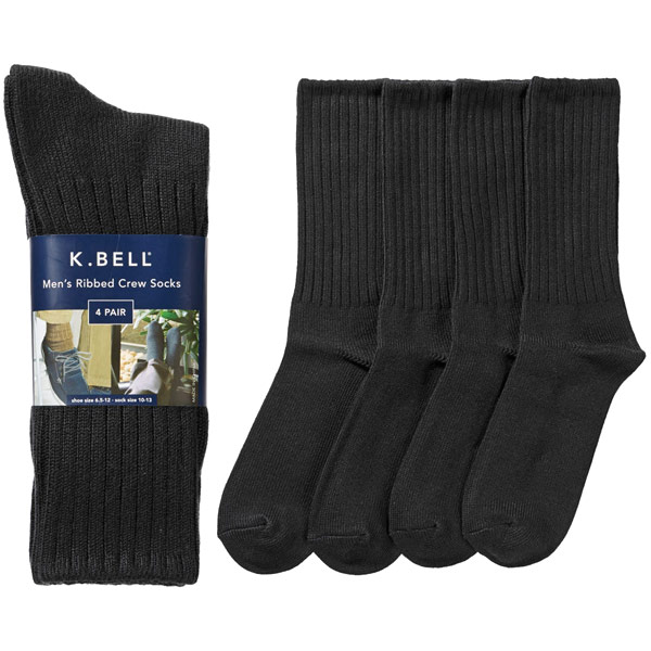 K. Bell Men's Ribbed Crew Socks, Black, 4 Pair