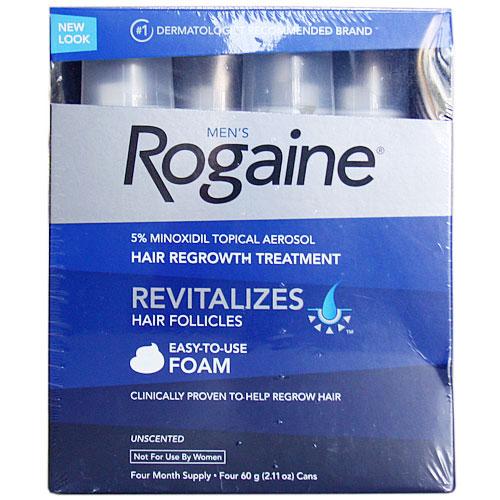 Men's Rogaine Foam Hair Regrowth Treatment, Four Month Supply, 240g