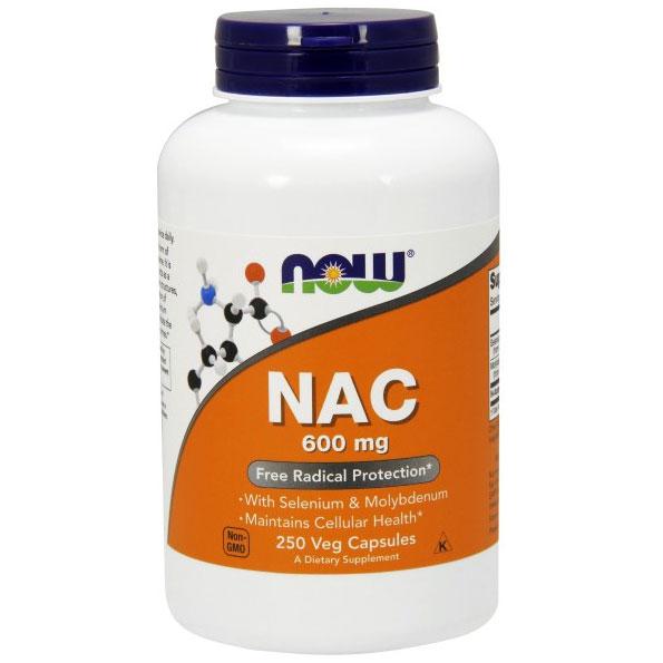 NAC 600mg N-Acetyl Cysteine, Selenium, Molybdenum 250 Caps, NOW Foods