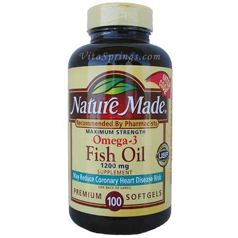 Nature made omega 3 fish oil 1200 mg 100 softgels day of for How much fish oil a day