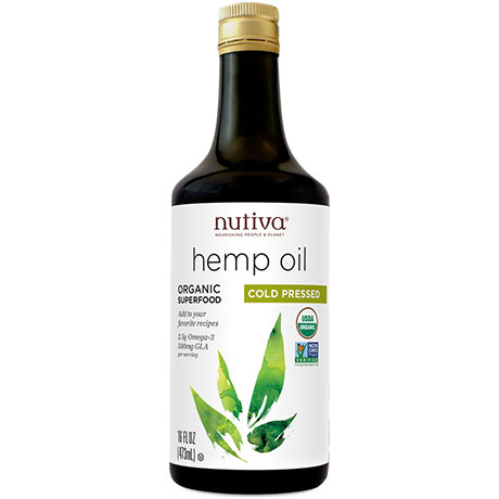 Nutiva Hempseed Oil, Organic Hemp Oil Liquid (Glass Bottle), 16 oz