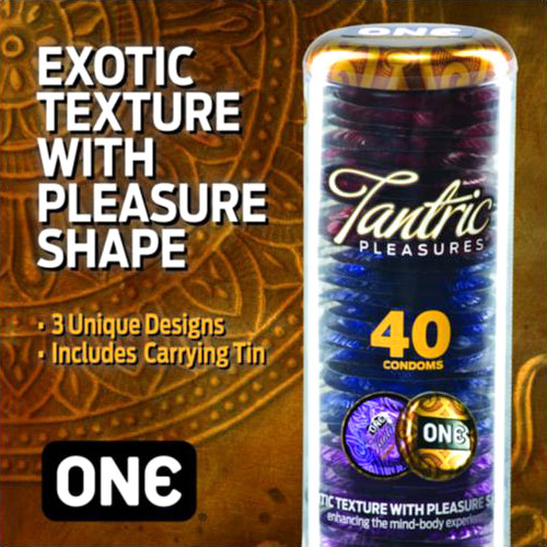 ONE Condoms Tantric Pleasures Condom, 40 Count