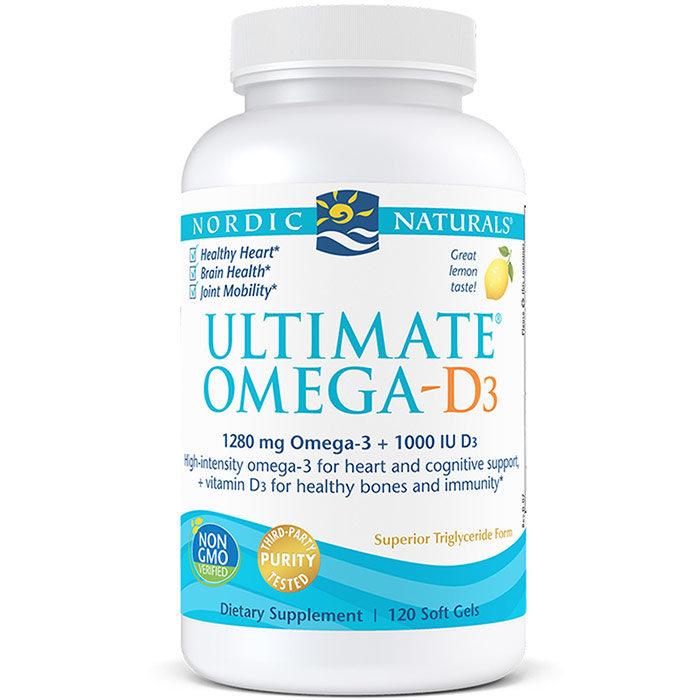 Ultimate omega d3 purified fish oil with vitamin d3 120 for Fish oil nordic naturals